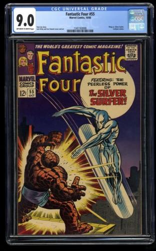 Fantastic Four #55 CGC VF/NM 9.0 Off White to White Silver Surfer! Marvel Comics