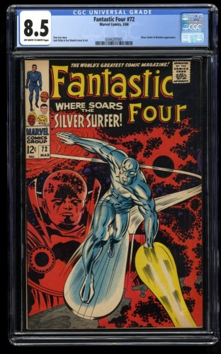Fantastic Four #72 CGC VF+ 8.5 Off White to White Silver Surfer! Marvel Comics