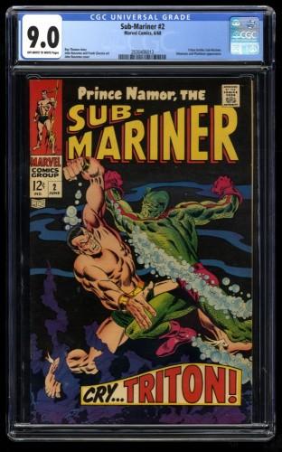 Sub-Mariner #2 CGC VF/NM 9.0 Off White to White Marvel Comics