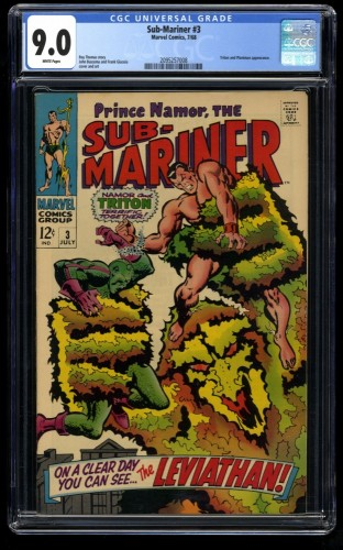Sub-Mariner #3 CGC VF/NM 9.0 White Pages Marvel Comics