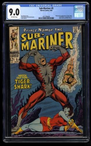 Sub-Mariner #5 CGC VF/NM 9.0 Off White 1st Tiger Shark! Marvel Comics
