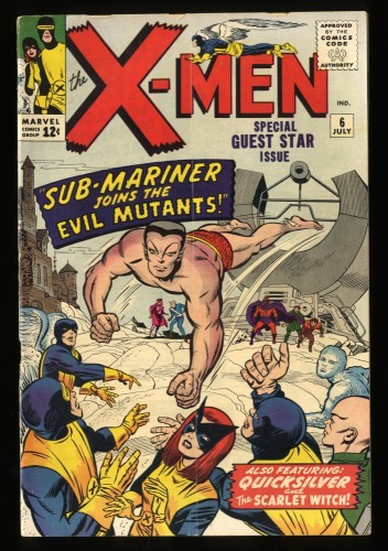 X-Men #6 VG+ 4.5 Sub-Mariner! Marvel Comics