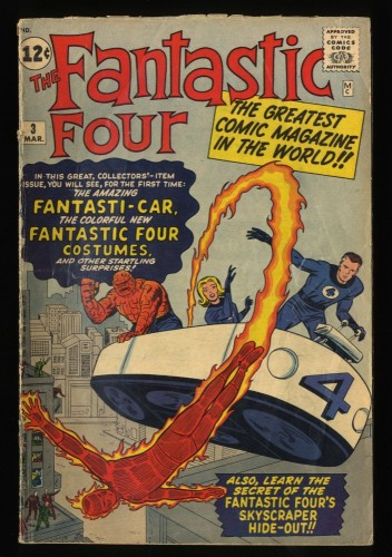 Fantastic Four #3 VG- 3.5 Marvel Comics