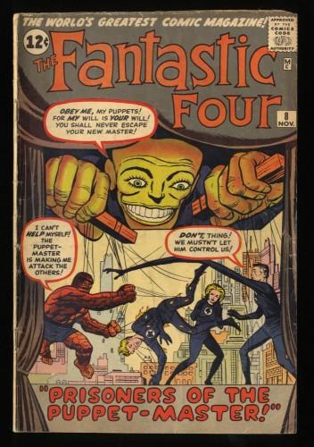 Fantastic Four #8 VG- 3.5 1st Puppet Master! Marvel Comics