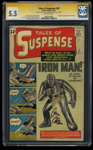 Tales Of Suspense #39 CGC FN- 5.5 Off White Iron Man SS Signed Stan Lee!