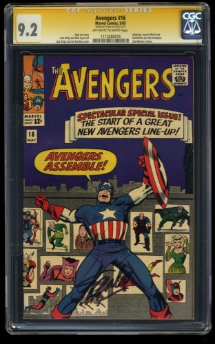 Avengers #16 CGC NM- 9.2 New Lineup! SS Signed Stan Lee!
