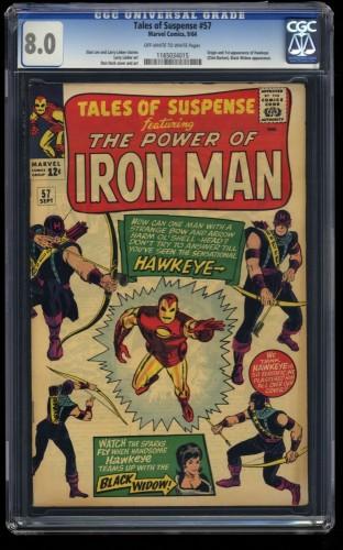 Tales Of Suspense #57 CGC VF 8.0 Off White to White 1st Hawkeye! Iron Man