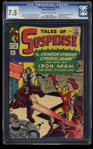 Tales Of Suspense #52 CGC VF- 7.5 Off White to White 1st Black Widow! Iron Man