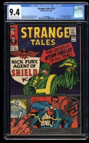 Strange Tales #135 CGC NM 9.4 Off White to White 1st Nick Fury! Shield!