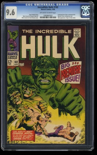 Incredible Hulk (1968) #102 CGC NM+ 9.6 Off White to White Marvel Comics