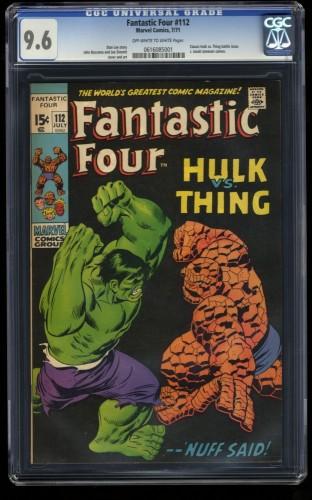 Fantastic Four #112 CGC NM+ 9.6 Off White to White Hulk Vs Thing! Marvel Comics