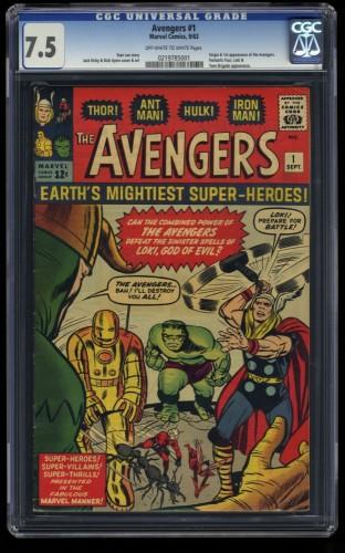 Avengers #1 CGC VF- 7.5 Off White to White Thor Captain America Iron Man Hulk!