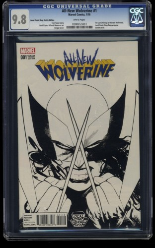 All-New Wolverine #1 CGC NM/M 9.8 White Pages Local Comic Shop Sketch Edition!