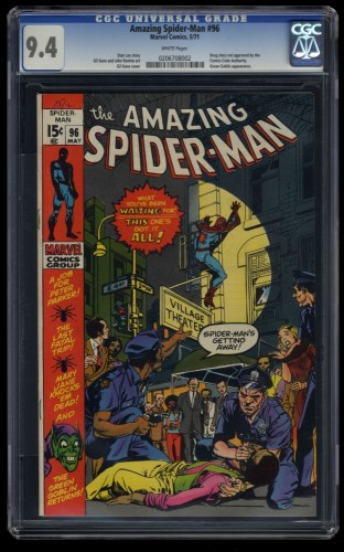 Amazing Spider-Man #96 CGC NM 9.4 White Pages Drug Issue! Green Goblin! No CCA!