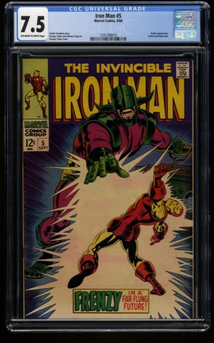 Iron Man #5 CGC VF- 7.5 Off White to White Marvel Comics
