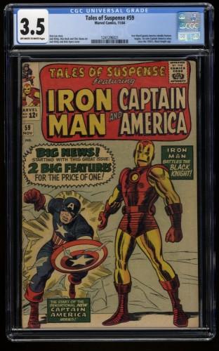 Tales of Suspense #59 CGC VG- 3.5 Off White to White Captain America Iron Man!