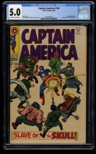 Captain America #104 CGC VG/FN 5.0 Off White to White Marvel Comics