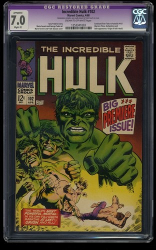Incredible Hulk #102 CGC FN/VF 7.0 Cream To Off White Slight Color Touch