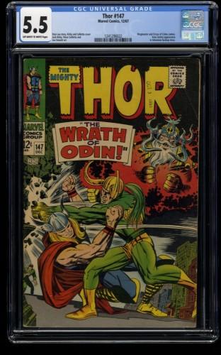 Thor #147 CGC FN- 5.5 Off White to White vs Loki! Marvel Comics