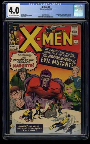 X-Men #4 CGC VG 4.0 Off White to White 1st Scarlet Witch and Quicksilver!