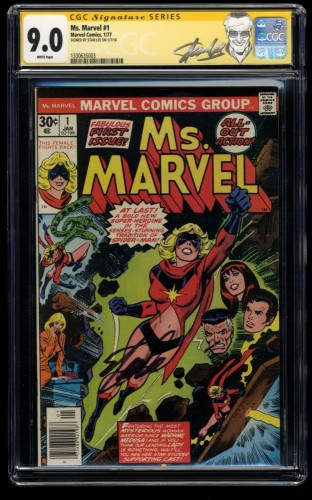 Ms. Marvel #1 CGC VF/NM 9.0 White Pages SS Signed by Stan Lee!