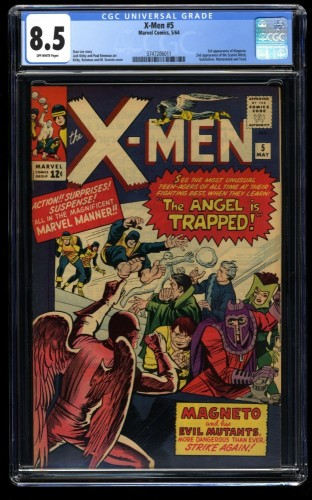 X-Men #5 CGC VF+ 8.5 Off White 2nd Magneto! Marvel Comics