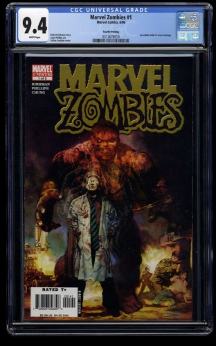 Marvel Zombies #1 CGC NM 9.4 White Pages 4th Print Incredible Hulk #1 Homage!