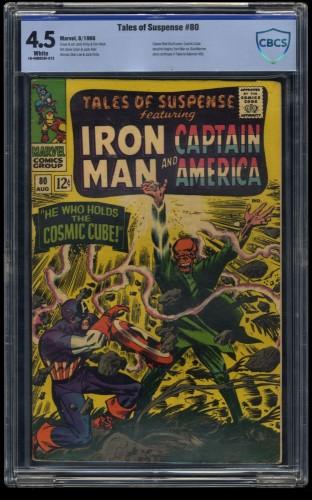 Tales of Suspense #80 CBCS VG+ 4.5 White Red Skull Captain America! Iron Man