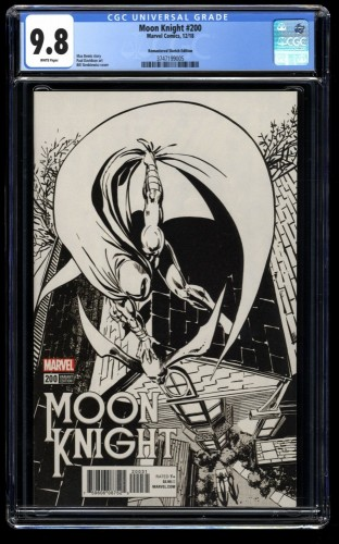 Moon Knight (2016) #200 CGC NM/M 9.8 White Pages Remastered Sketch Variant!