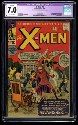 X-Men #2 CGC FN/VF 7.0 Off White 1st Vanisher! Marvel Comics