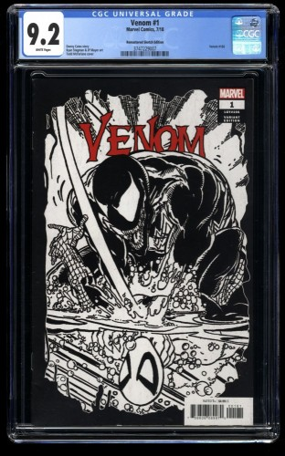 Venom (2018) #1 CGC NM- 9.2 1:1000 Remastered Sketch Variant Cover!