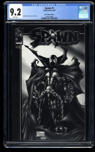 Spawn #1 CGC NM- 9.2 White Pages Black and White Edition McFarlane!
