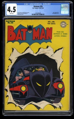 Batman #20 CGC VG+ 4.5 White Pages 1st Batmobile Cover!