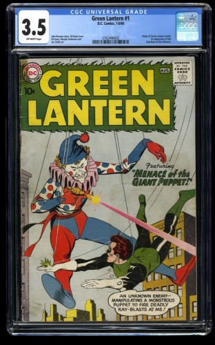 Green Lantern #1 CGC VG- 3.5 Off White 1st Guardians of The Universe! DC Comics