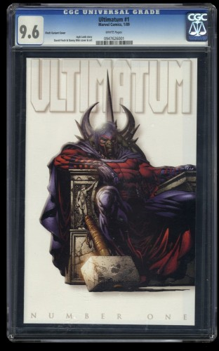 Ultimatum #1 CGC NM+ 9.6 White Pages 1:100 Finch Variant Cover!
