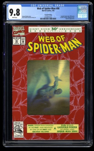 Web of Spider-Man #90 CGC NM/M 9.8 White Pages Hologram Cover!
