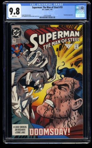 Superman: The Man of Steel #19 CGC NM/M 9.8 White Pages Doomsday!