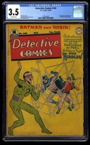 Detective Comics #140 CGC VG- 3.5 Off White 1st Riddler!