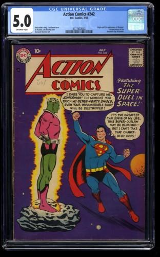 Action Comics #242 CGC VG/FN 5.0 Off White 1st Braniac!  Kandor! DC Superman