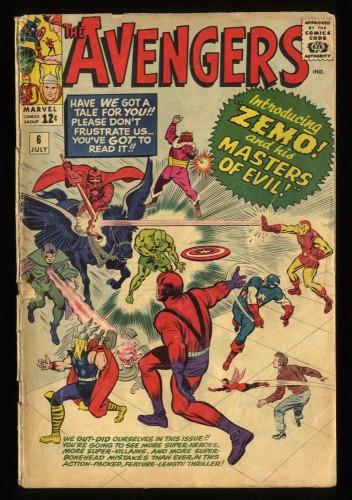 Avengers #6 GD+ 2.5 1st Baron Zemo! Marvel Comics Thor Captain America