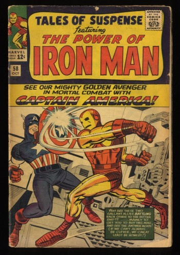 Tales Of Suspense #58 GD+ 2.5  Iron Man vs Captain America! Iron Man