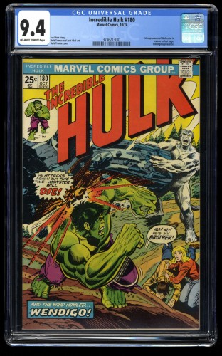 Incredible Hulk (1962) #180 CGC NM 9.4 Off White to White 1st Cameo Wolverine!