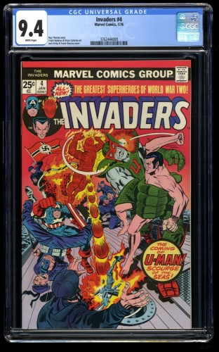 Invaders #4 CGC NM 9.4 White Pages