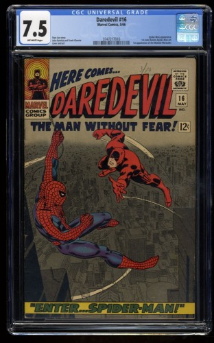 Daredevil #16 CGC VF- 7.5 Off White Spider-Man! Marvel Comics