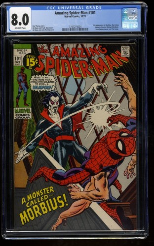 Amazing Spider-Man #101 CGC VF 8.0 Off White 1st Morbius!