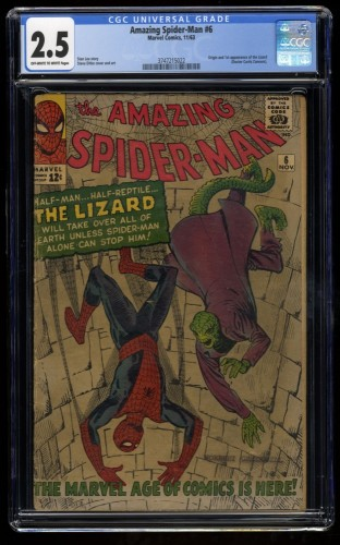 Amazing Spider-Man #6 CGC GD+ 2.5 Off White to White 1st Lizard!