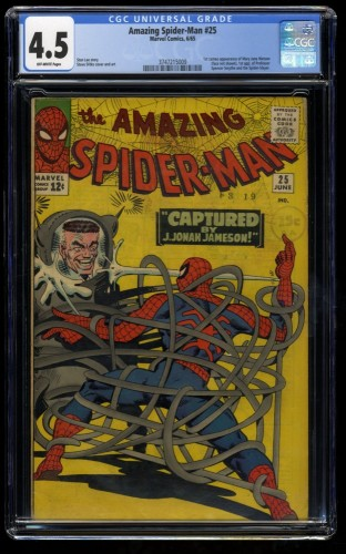 Amazing Spider-Man #25 CGC VG+ 4.5 Off White 1st Mary Jane!