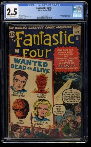 Fantastic Four #7 CGC GD+ 2.5 Off White to White 1st Kurrgo! Marvel Comics