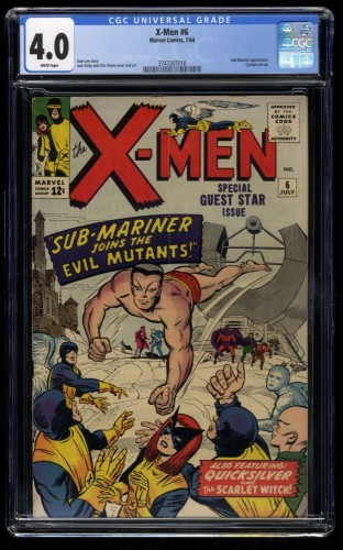 X-Men #6 CGC VG 4.0 White Pages Sub-Mariner! Beautiful Copy!