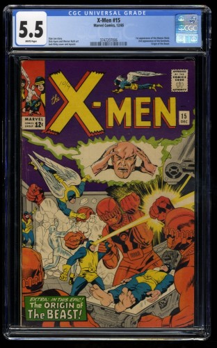 X-Men #15 CGC FN- 5.5 White Pages Marvel Comics